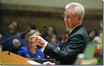 Sen. John Morse (Dem.) of Colorado Springs addresses the senate during the opening day of the Colorado State Legislature was on Wednesday, January 12, 2011. Morse is the majority leader of the senate. (The Gazette/Jerilee Bennett)
