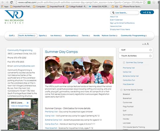Vail-Rec-District-Kid-Camps